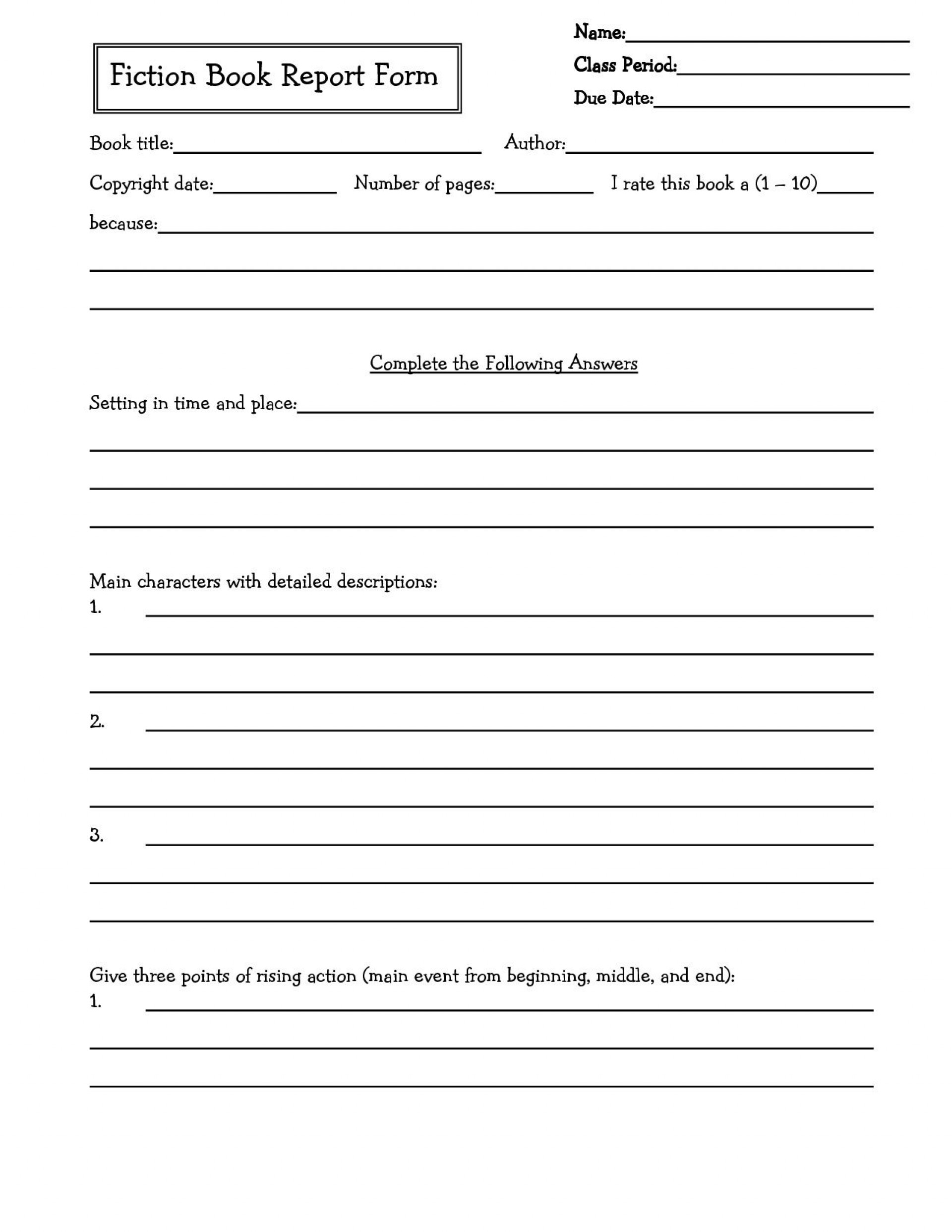 002 Awesome 6th Grade Book Report Template Picture  Sixth Format Printable Middle School1920