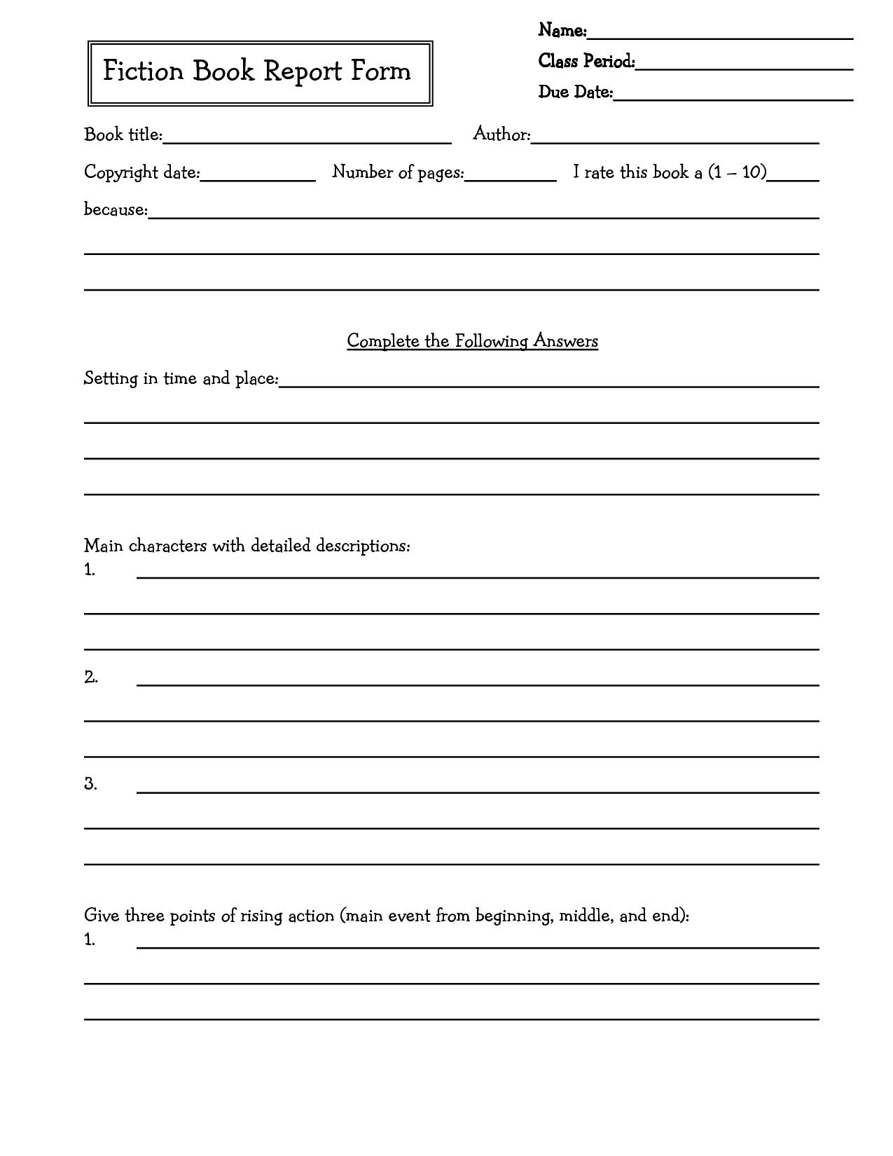 002 Awesome 6th Grade Book Report Template Picture  Sixth Format Printable Middle SchoolFull