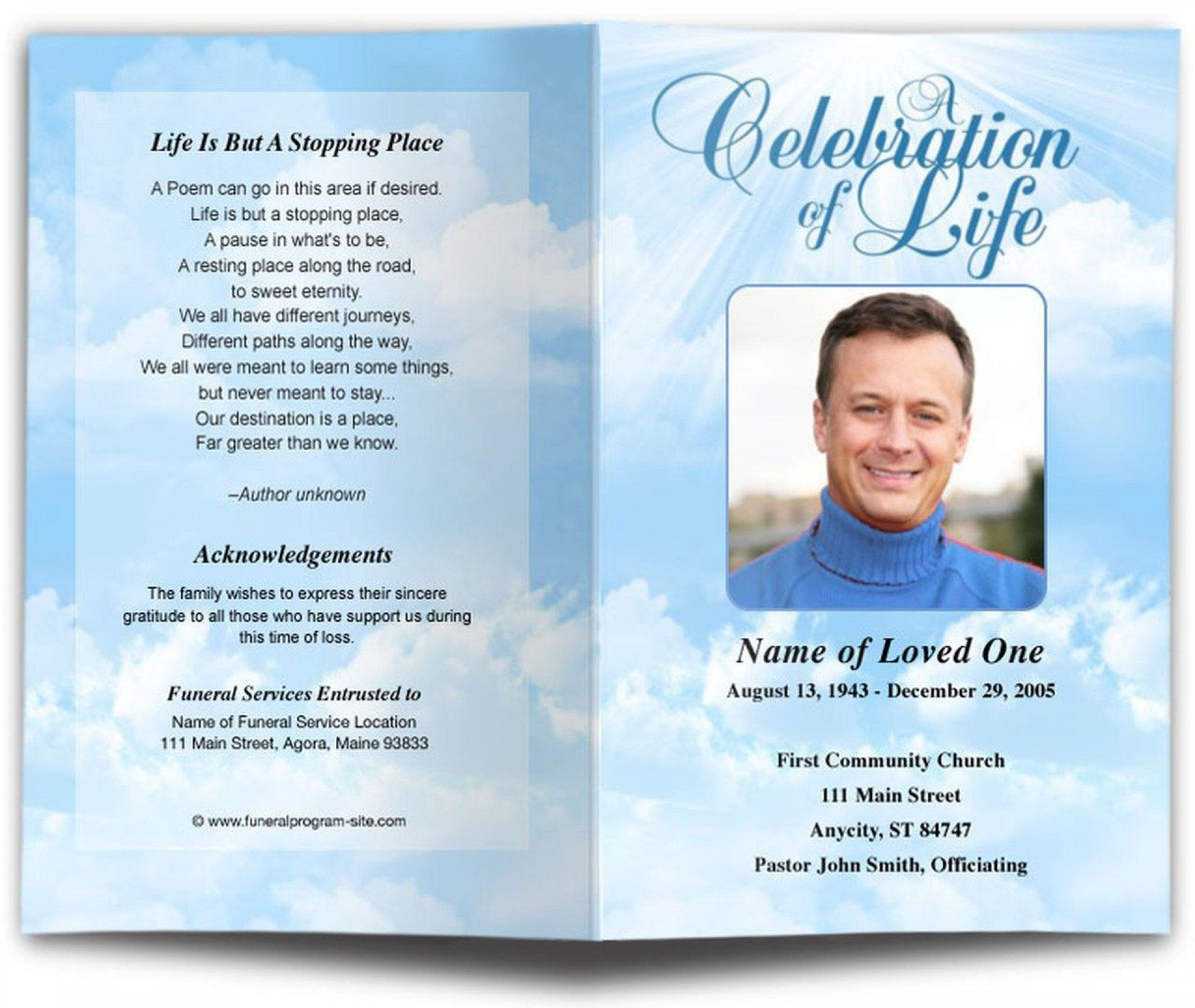 002 Awesome Celebration Of Life Word Template Free Highest Quality  Program1920