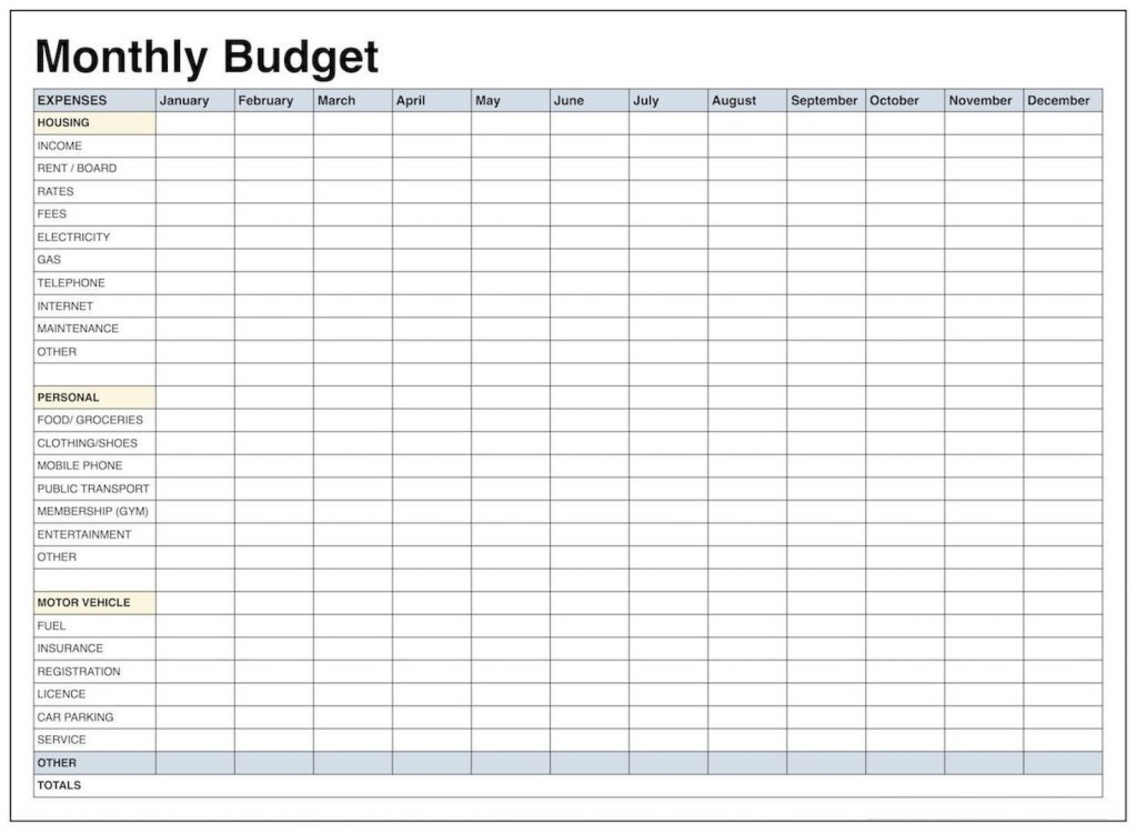 002 Awesome Free Monthly Budget Template Pdf High Definition  Fillable Household WorksheetLarge