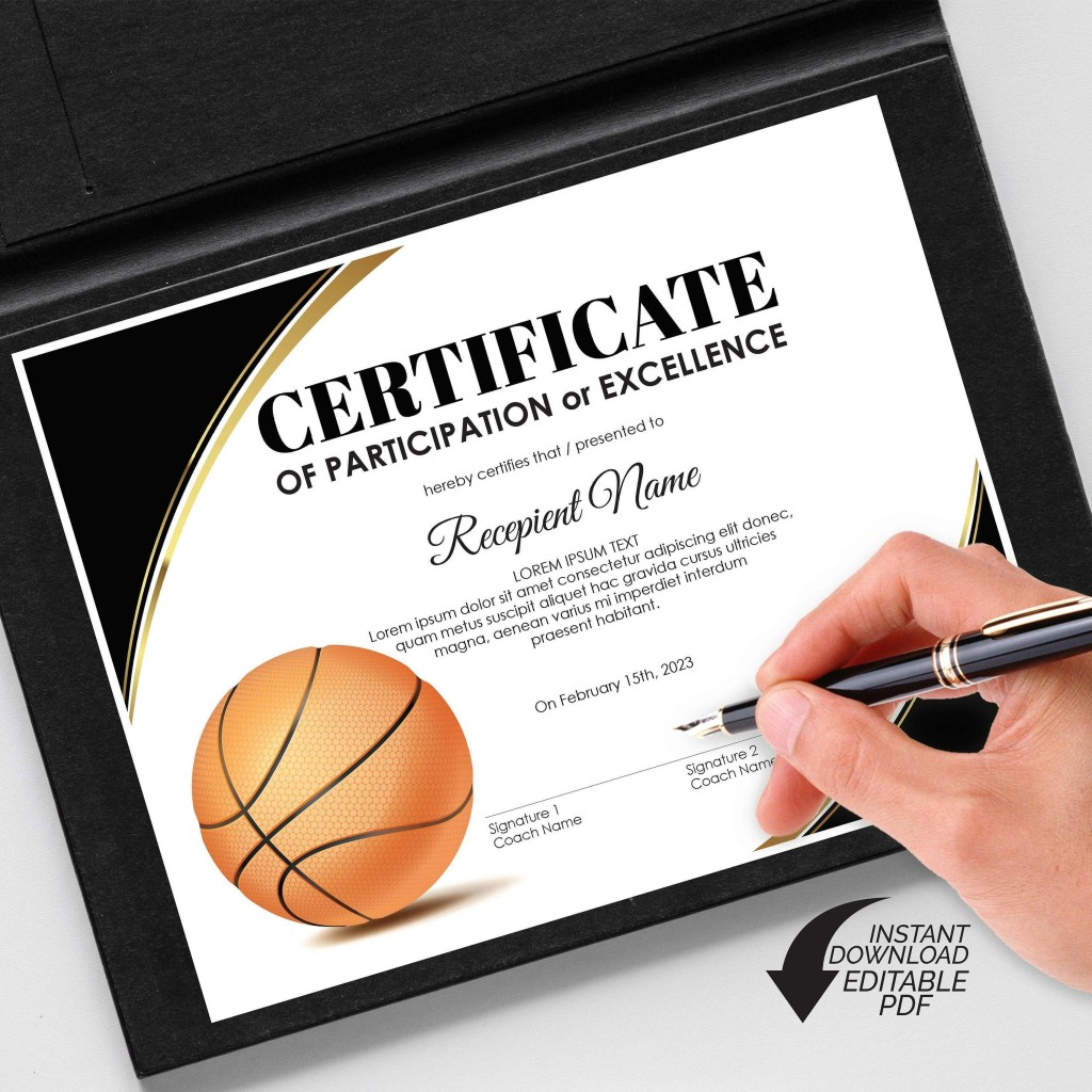 002 Awesome Free Printable Basketball Certificate Template Picture  TemplatesLarge