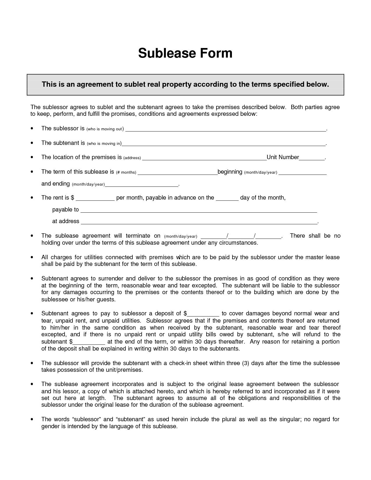 002 Awesome Free Sublease Agreement Template Example  Lease Word South AfricaFull