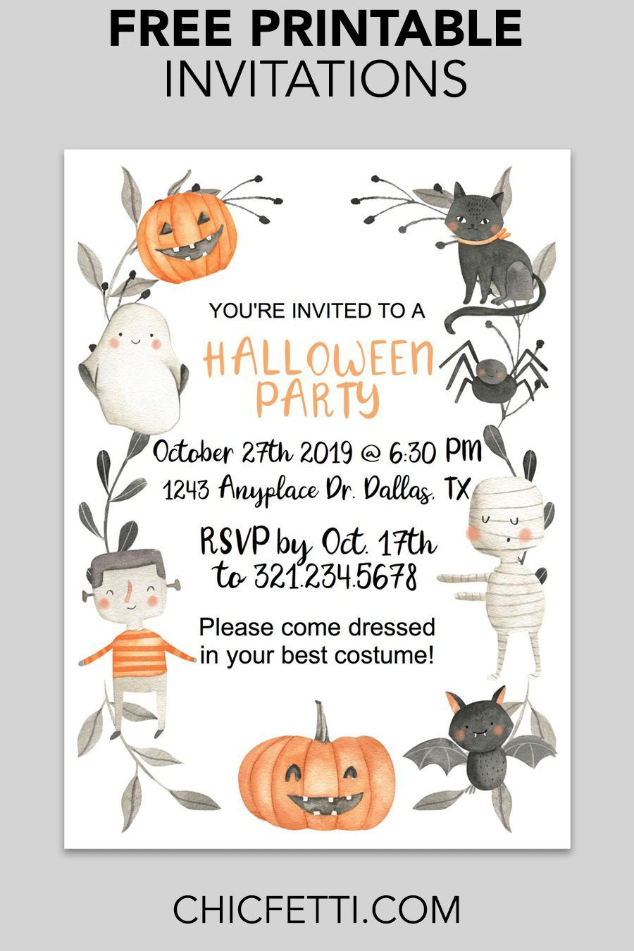 002 Awesome Halloween Party Invite Template High Definition  Spooky Invitation Free Printable Birthday DownloadFull
