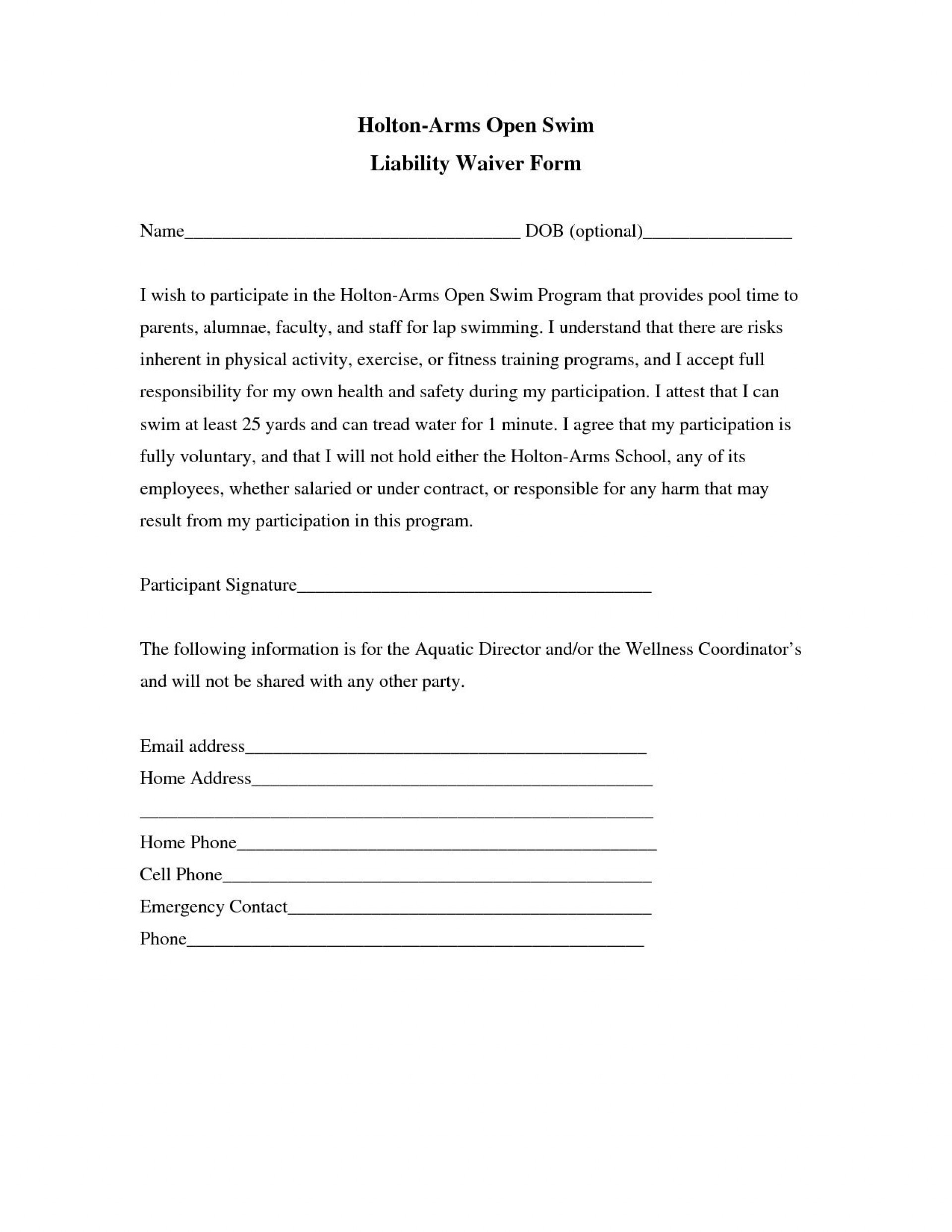 002 Awesome Liability Release Form Template Picture  General Waiver Church Free1920
