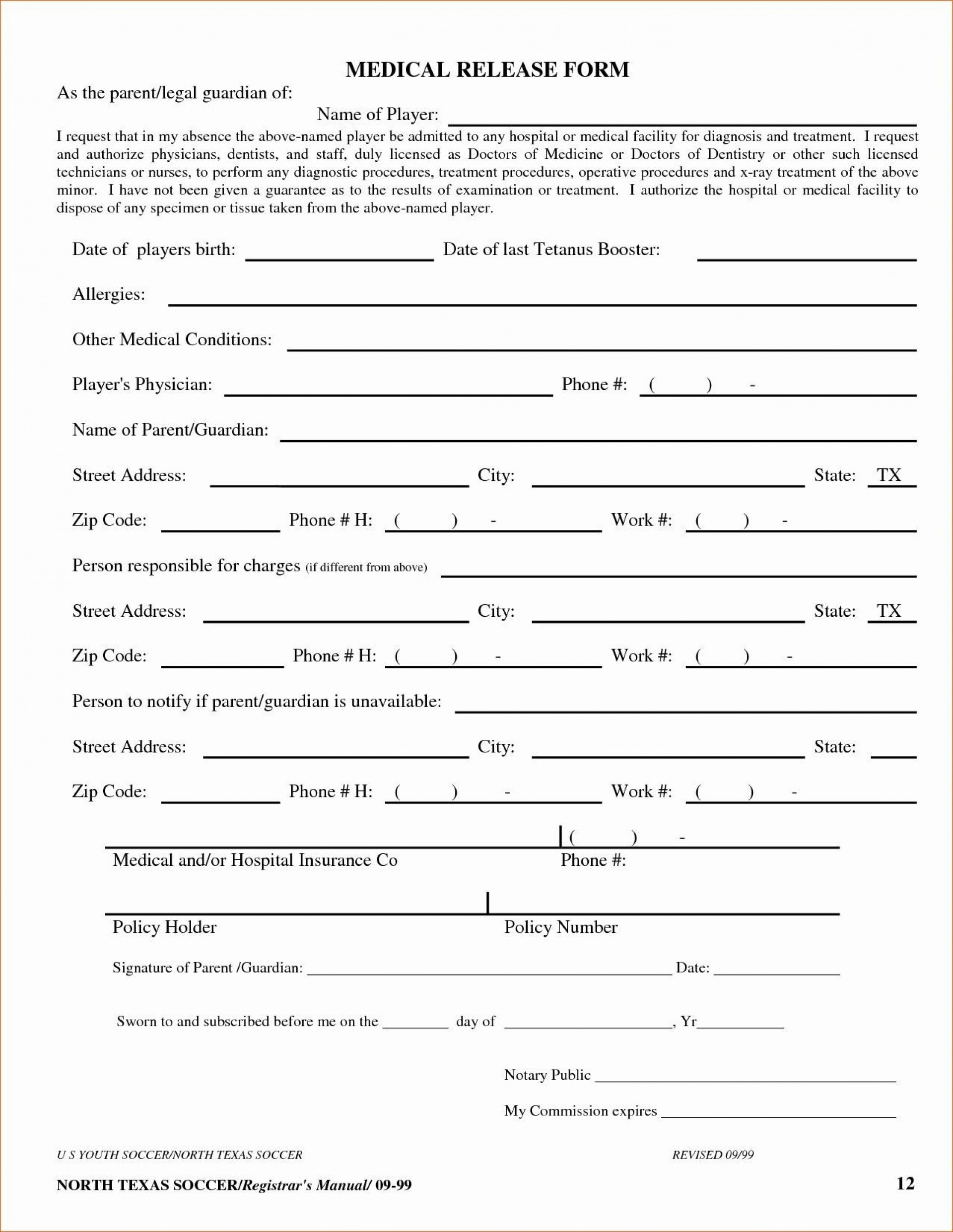 002 Awesome Medical Record Request Form Template Design  Free Release Authorization1920