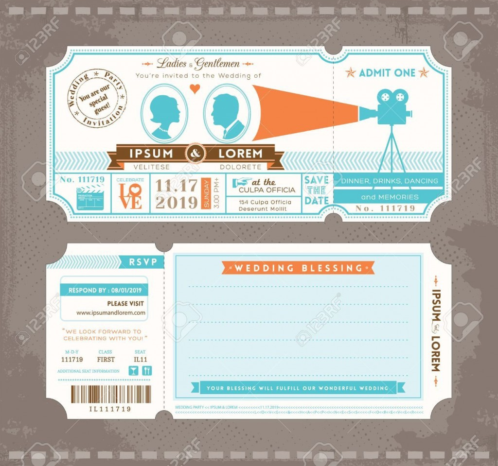 002 Awesome Movie Ticket Invitation Template Picture  Blank Free Download Editable PrintableLarge