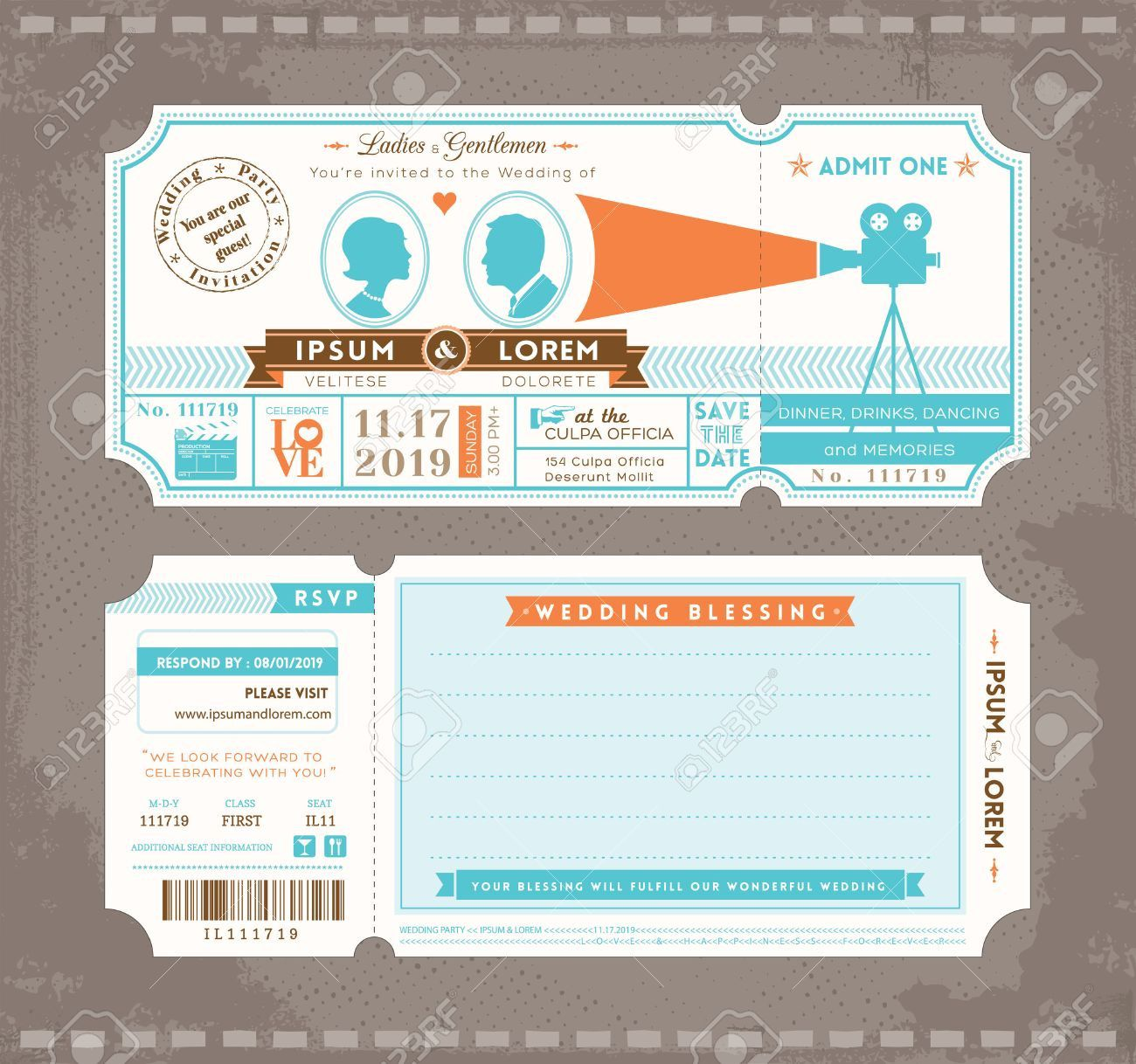 002 Awesome Movie Ticket Invitation Template Picture  Blank Free Download Editable PrintableFull
