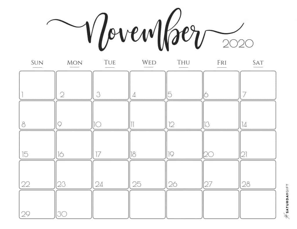 002 Awesome Printable Calendar Template November 2020 Image  FreeLarge