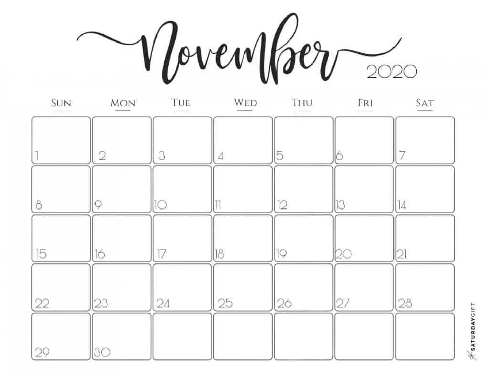 002 Awesome Printable Calendar Template November 2020 Image  Free1920
