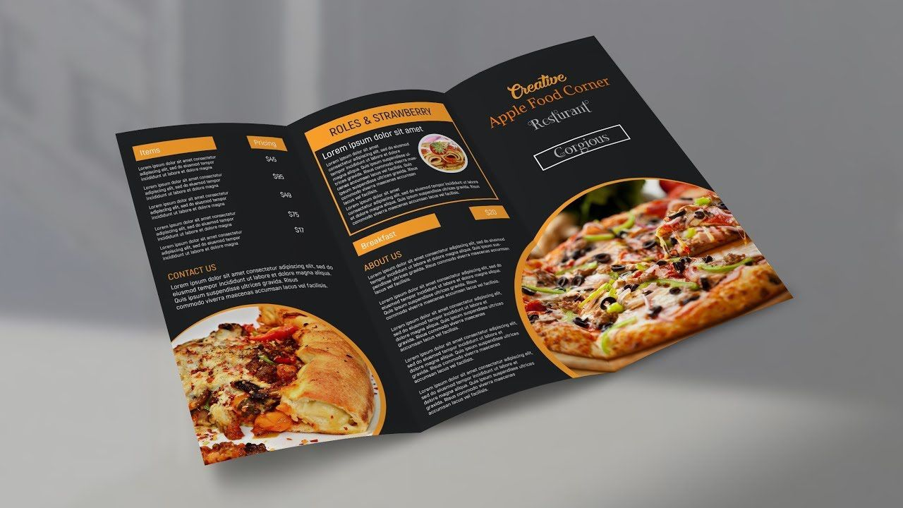 002 Awesome Tri Fold Take Out Menu Template Free Word Design Full