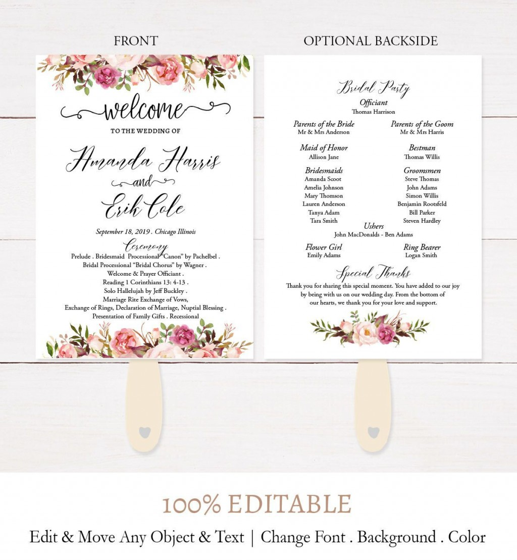 002 Awesome Wedding Program Fan Template Concept  Free Word Paddle Downloadable That Can Be PrintedLarge