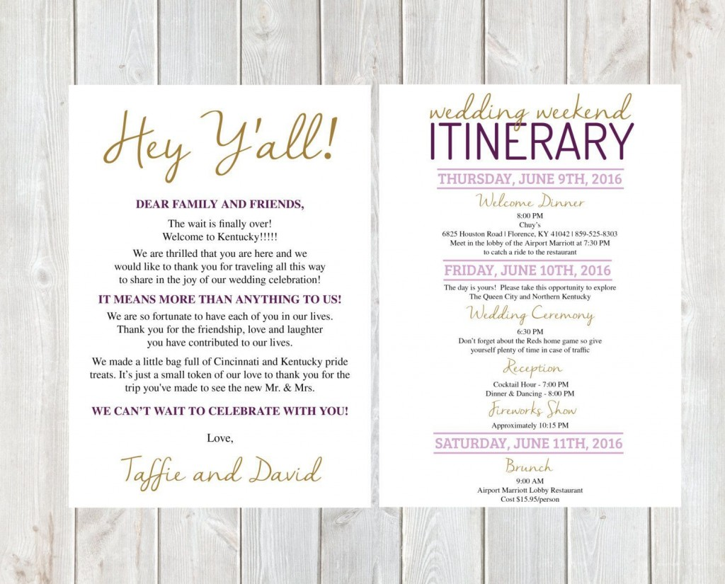 002 Awesome Wedding Welcome Letter Template Free High Def  BagLarge