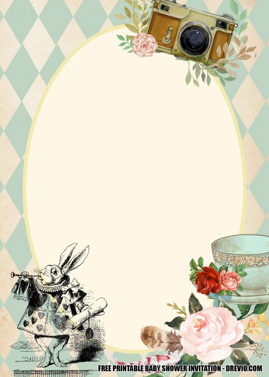 002 Awful Alice In Wonderland Invitation Template Design  Templates Free Download Bridal Shower Party Invite
