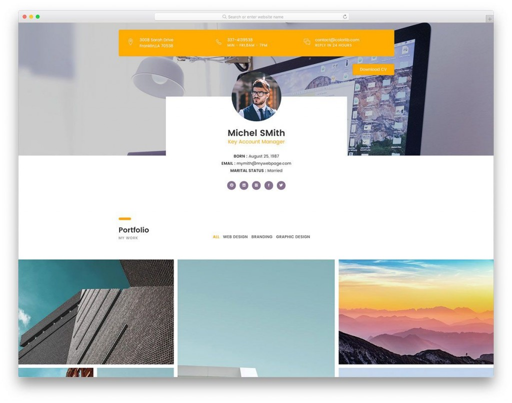002 Awful Bootstrap Portfolio Template Free Idea  Download Website 4Large