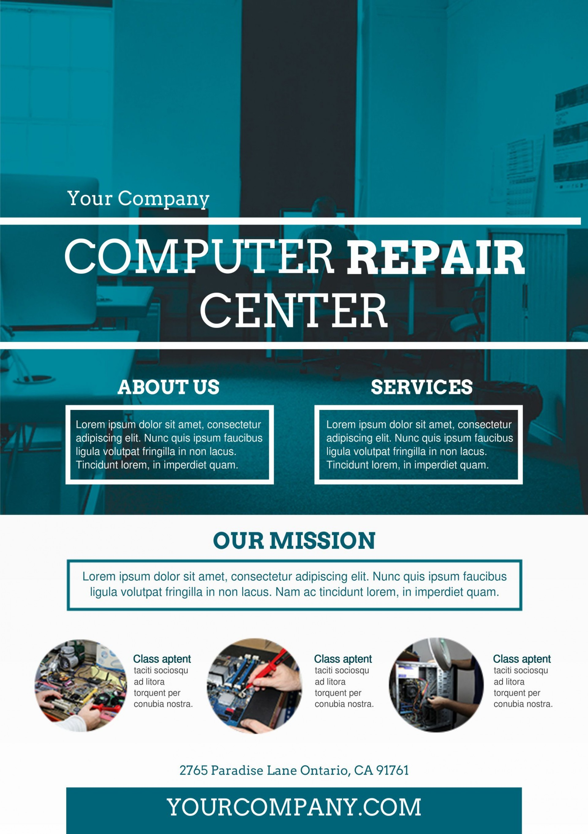 002 Awful Computer Repair Flyer Template High Resolution  Word Busines Free1920