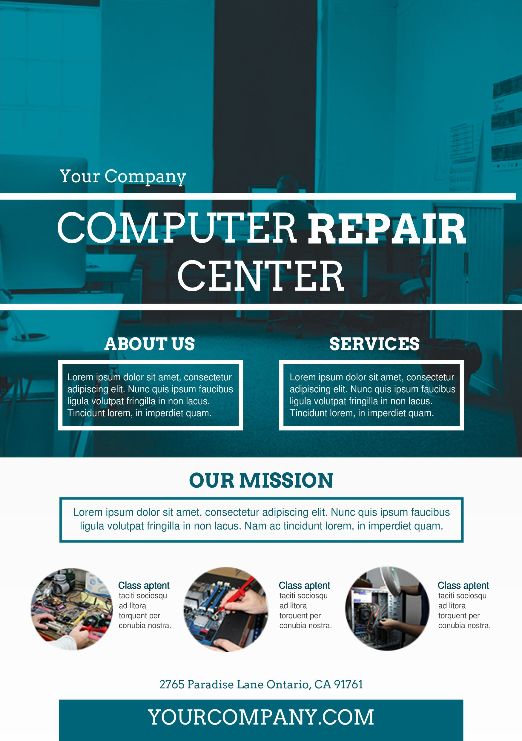 002 Awful Computer Repair Flyer Template High Resolution  Word Busines FreeFull