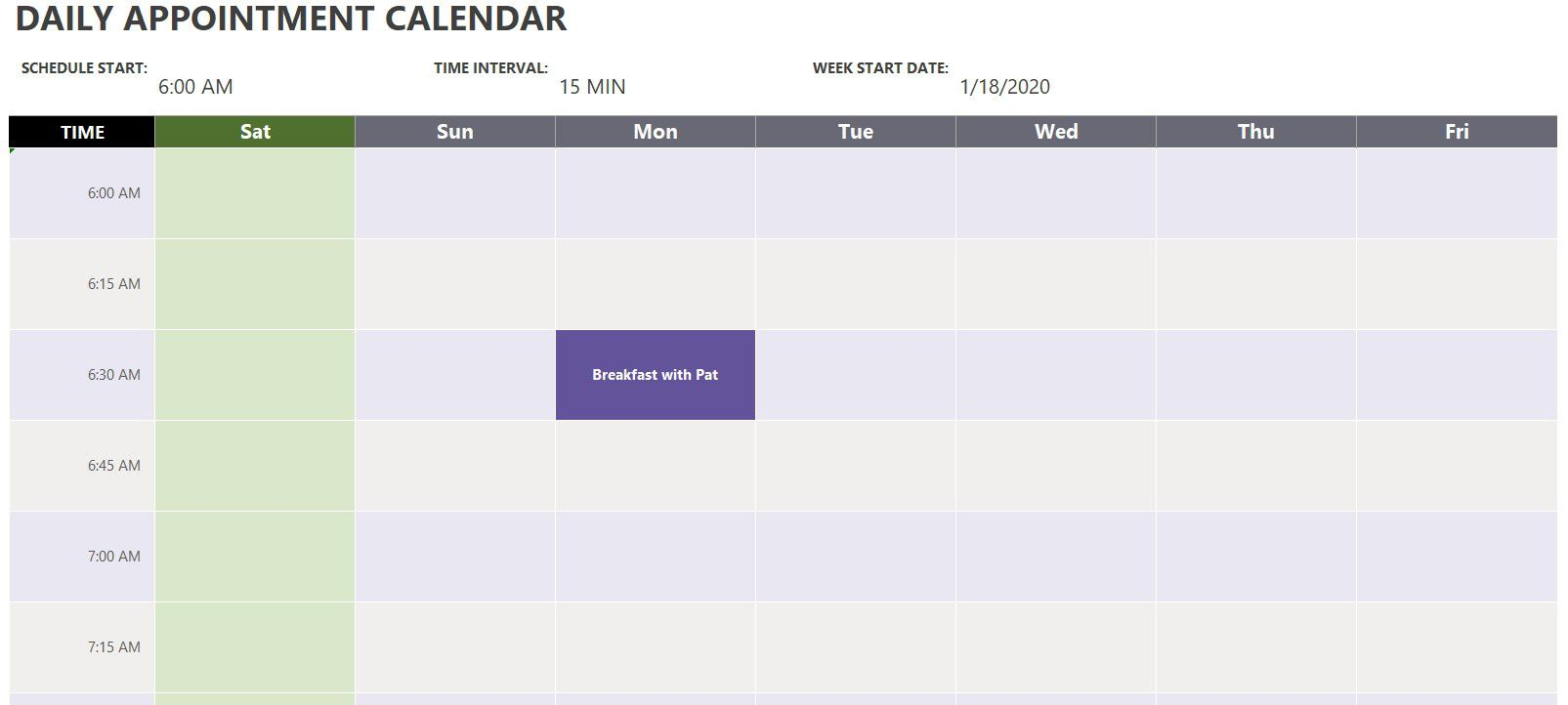 002 Awful Daily Calendar Template Excel Highest Clarity Full