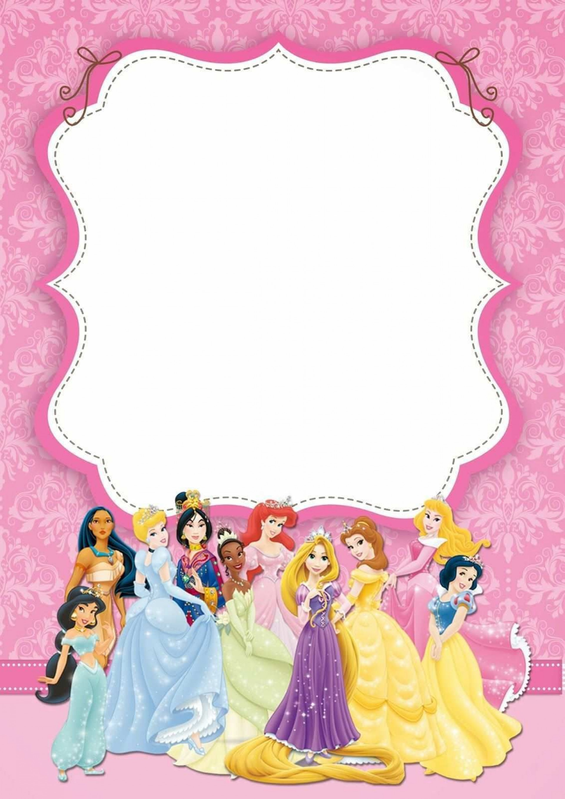 002 Awful Disney Princes Invitation Template High Definition  Downloadable Party Free Printable Birthday1920