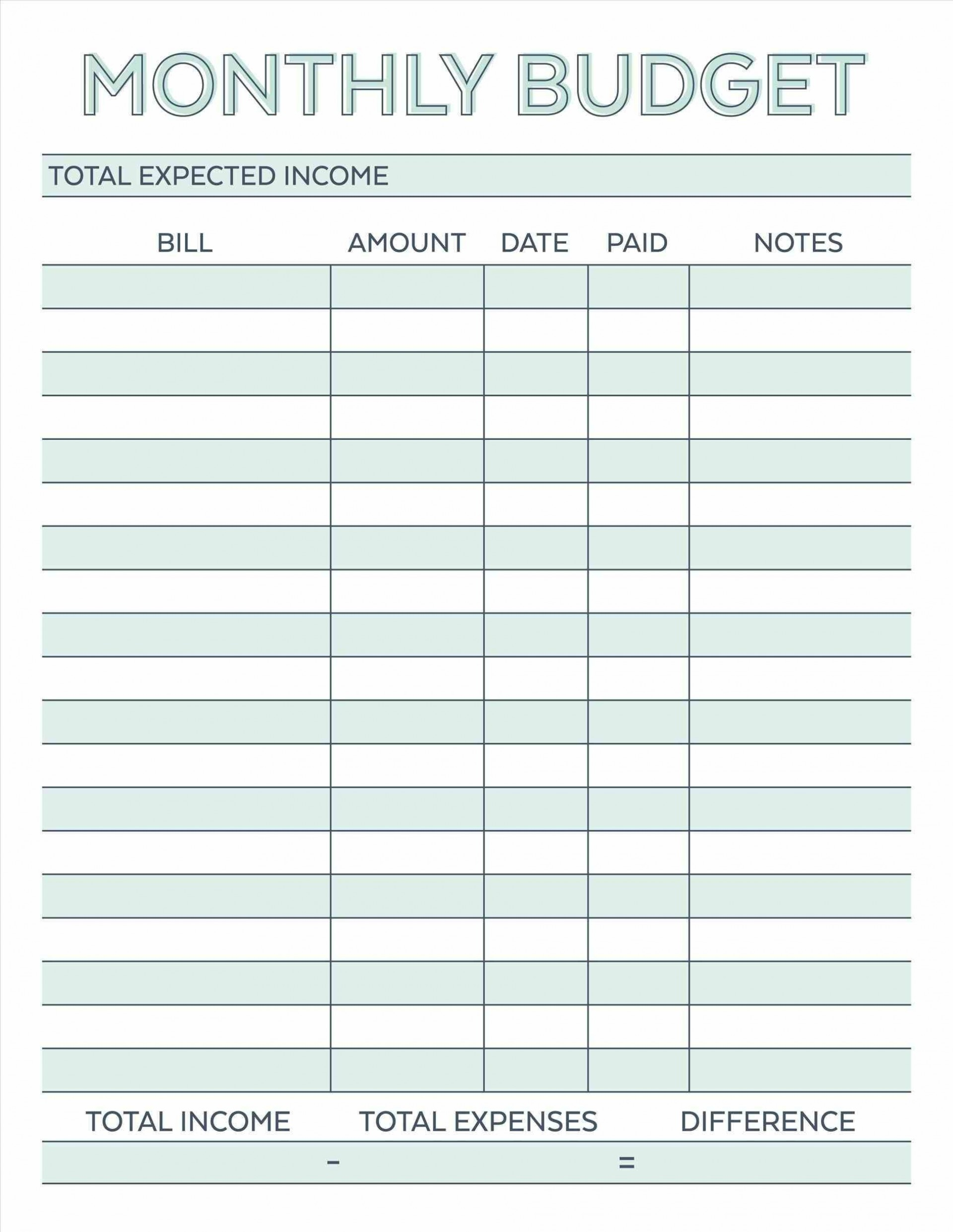 002 Awful Free Simple Monthly Household Budget Template Idea 1920
