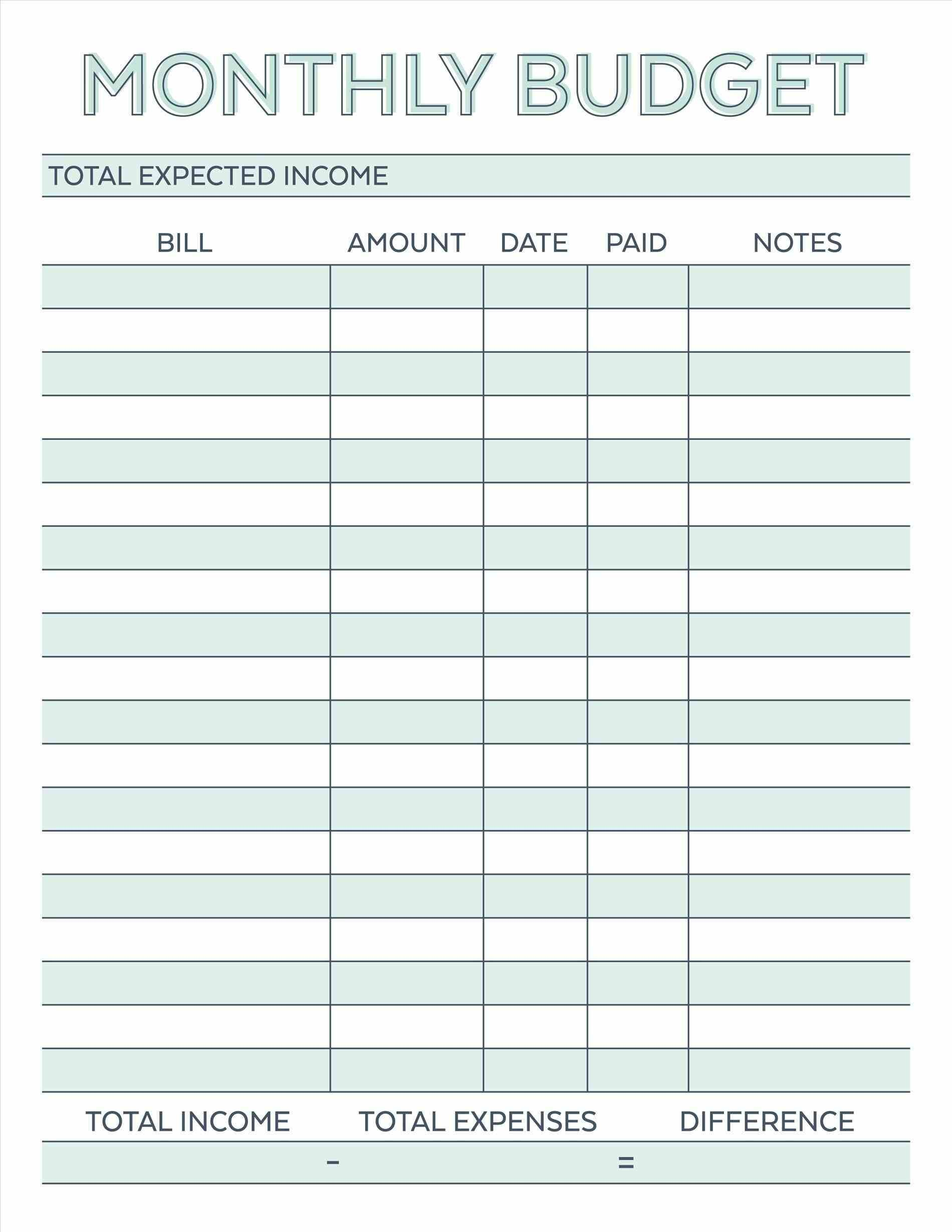 002 Awful Free Simple Monthly Household Budget Template Idea Full