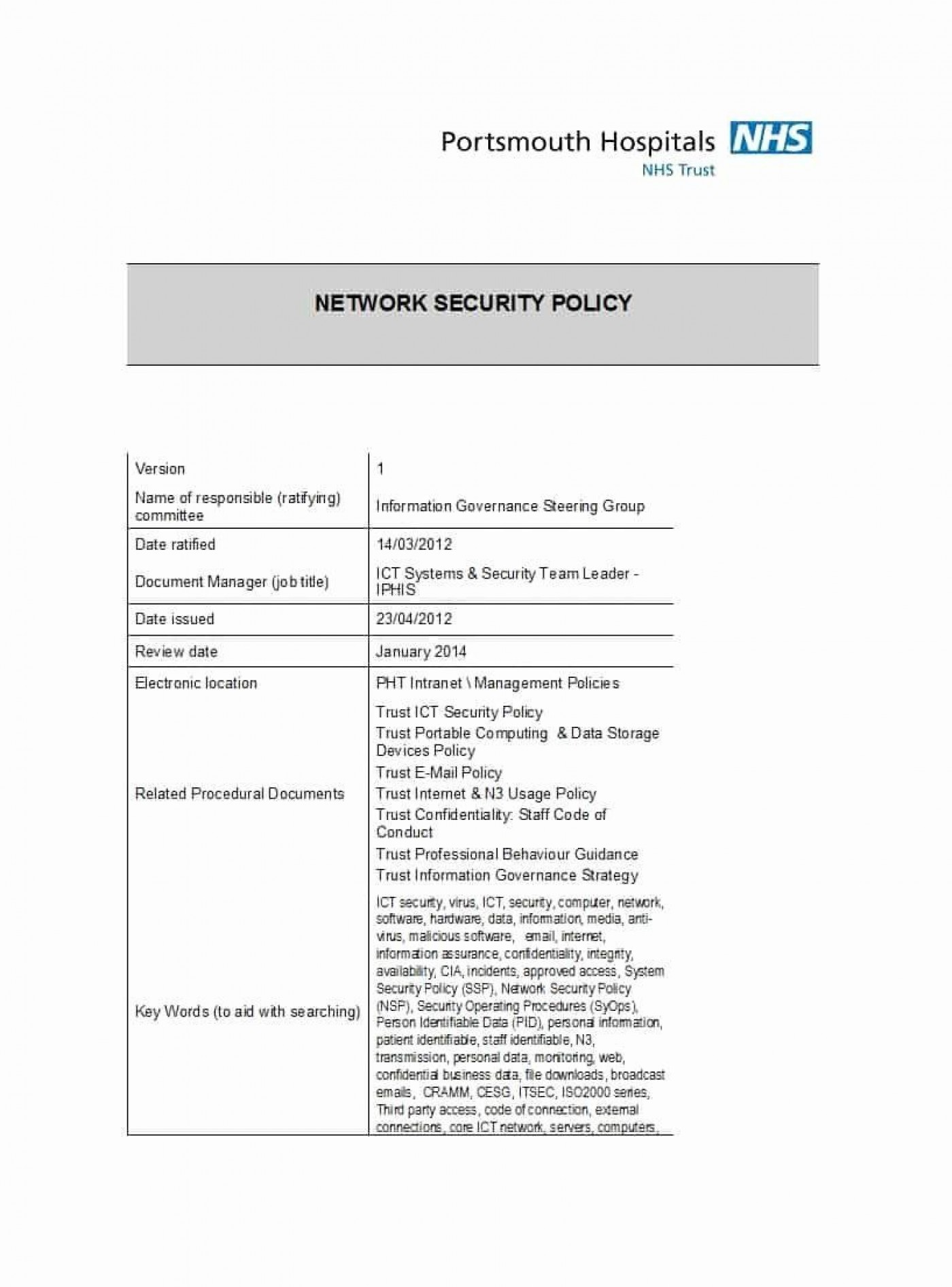 002 Awful It Security Policy Template High Resolution  Download Free For Small Busines Pdf1400