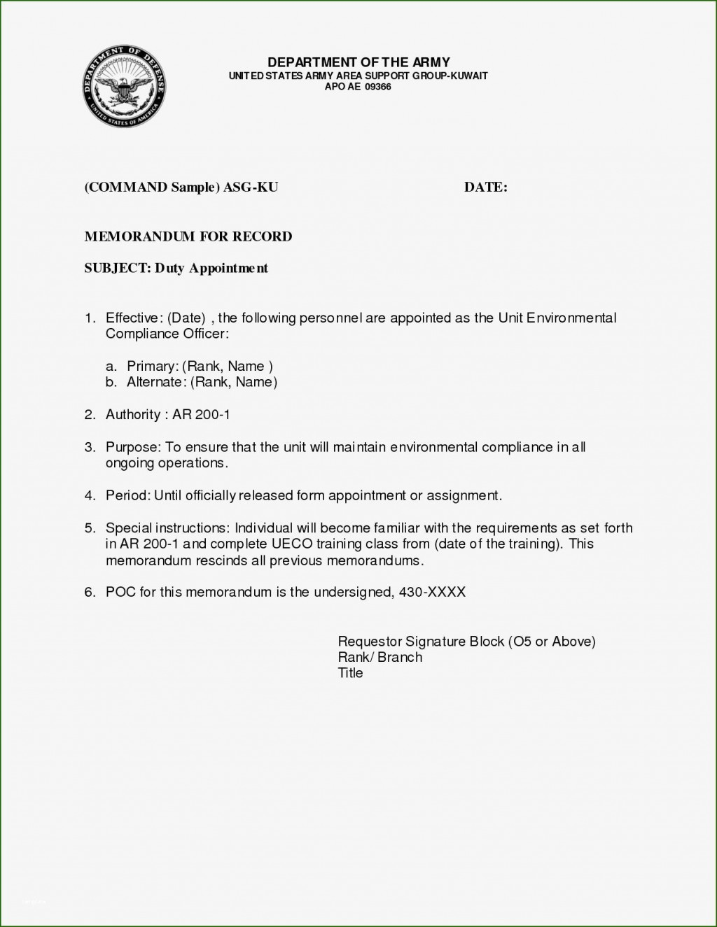 002 Awful Memorandum For Record Template High Resolution  Army Pdf Fillable Example WlcLarge