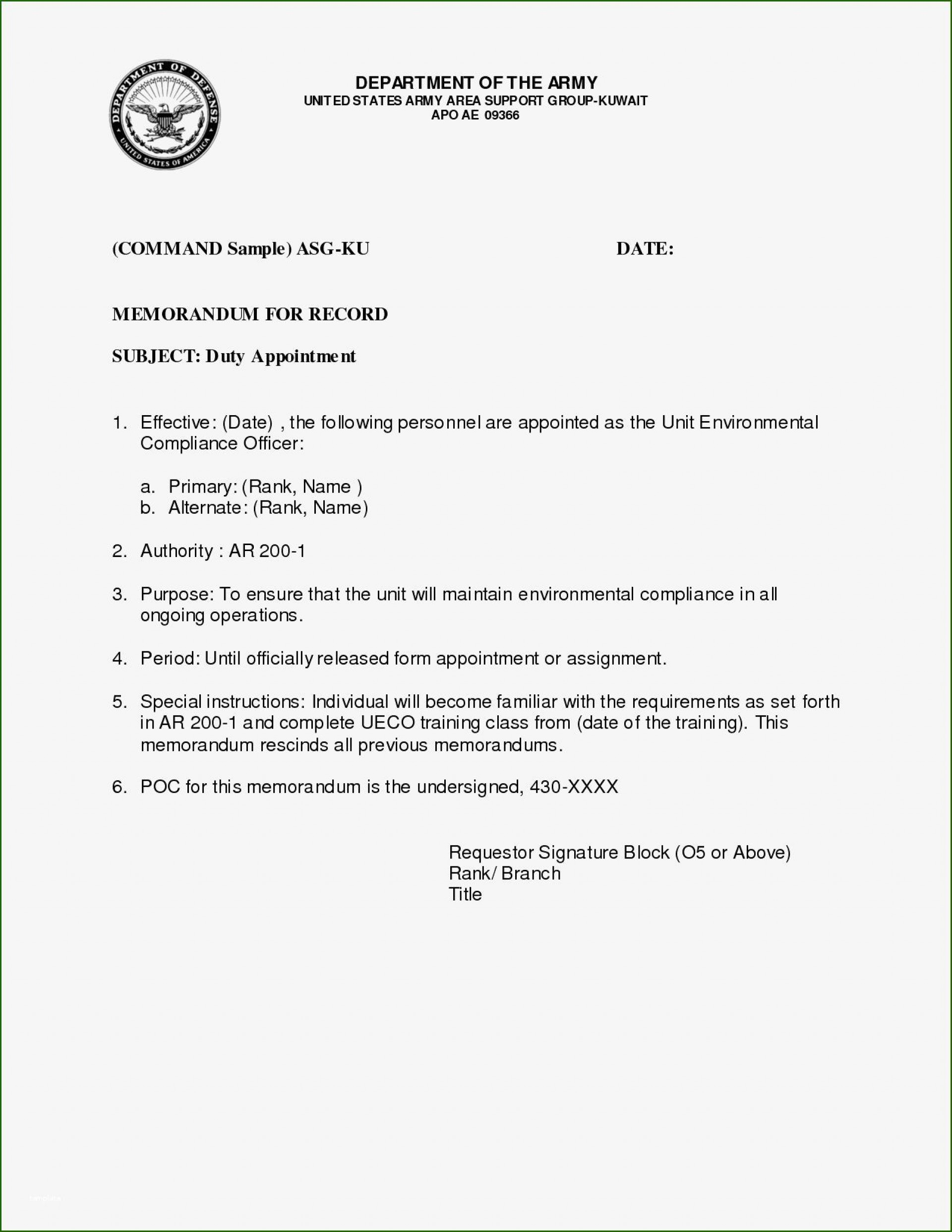 002 Awful Memorandum For Record Template High Resolution  Army Pdf Fillable Example Wlc1920