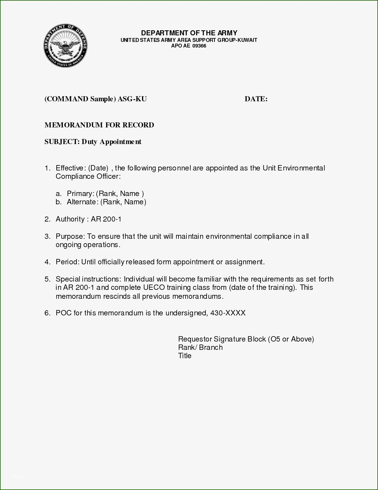 002 Awful Memorandum For Record Template High Resolution  Army Pdf Fillable Example WlcFull