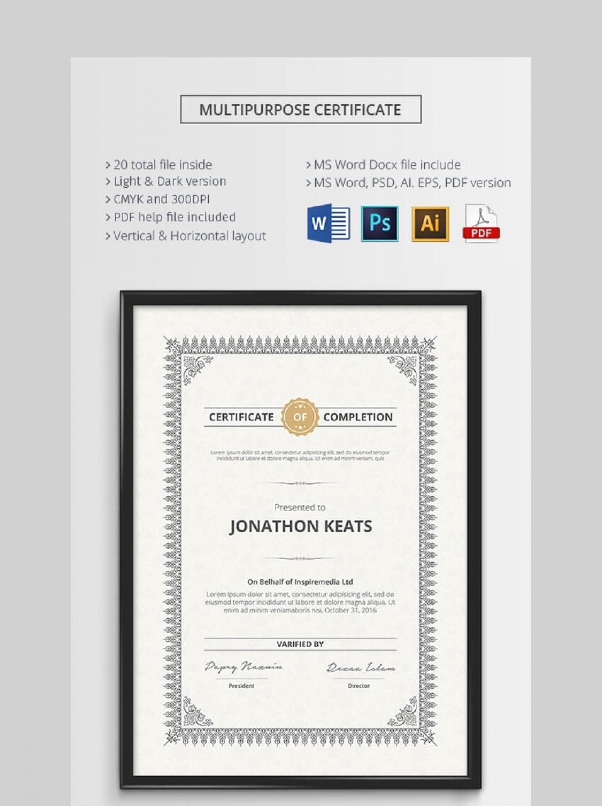 002 Awful Microsoft Word Certificate Template Sample  2003 Award M Appreciation Of Authenticity1920