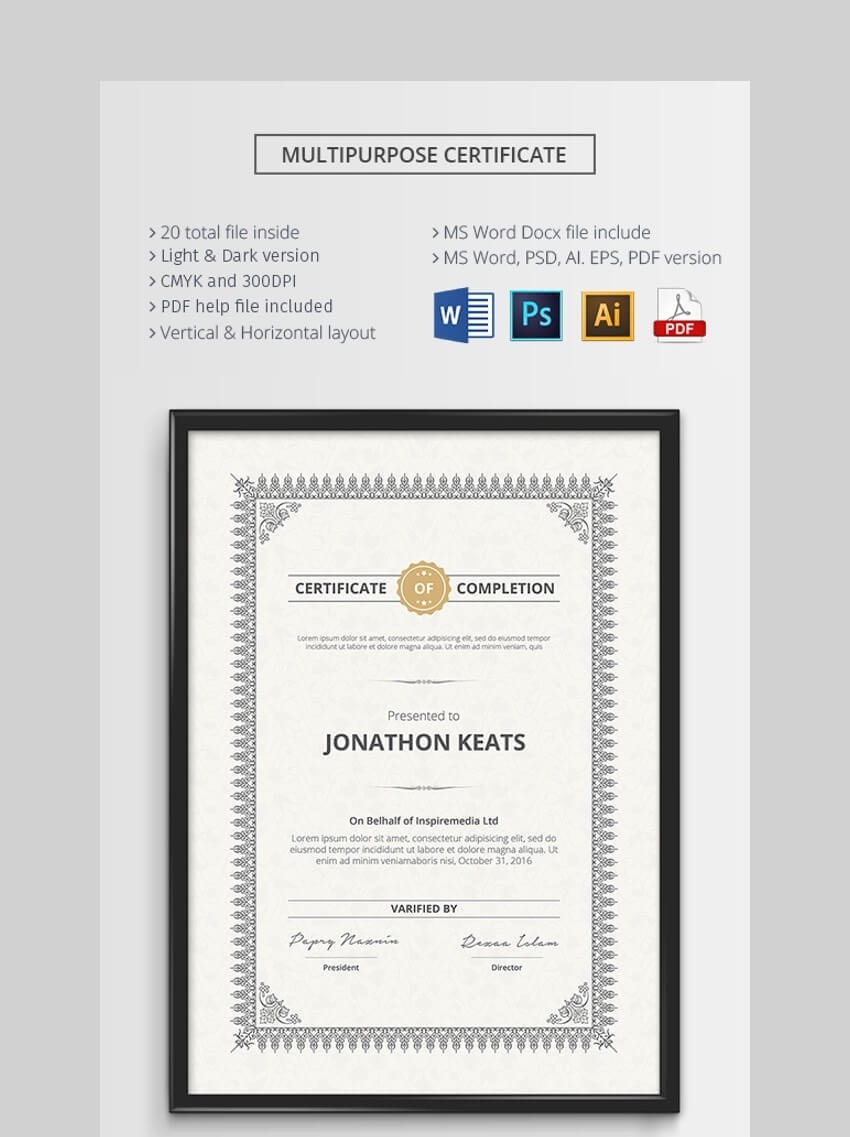 002 Awful Microsoft Word Certificate Template Sample  2003 Award M Appreciation Of AuthenticityFull