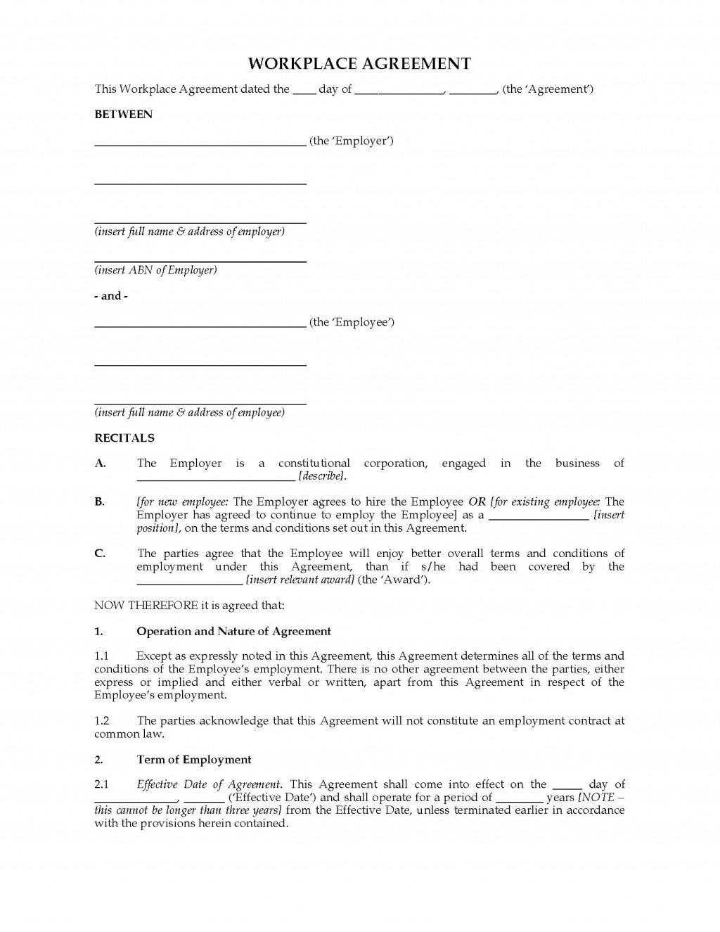 002 Beautiful Australian Employment Contract Template Free High Resolution Large