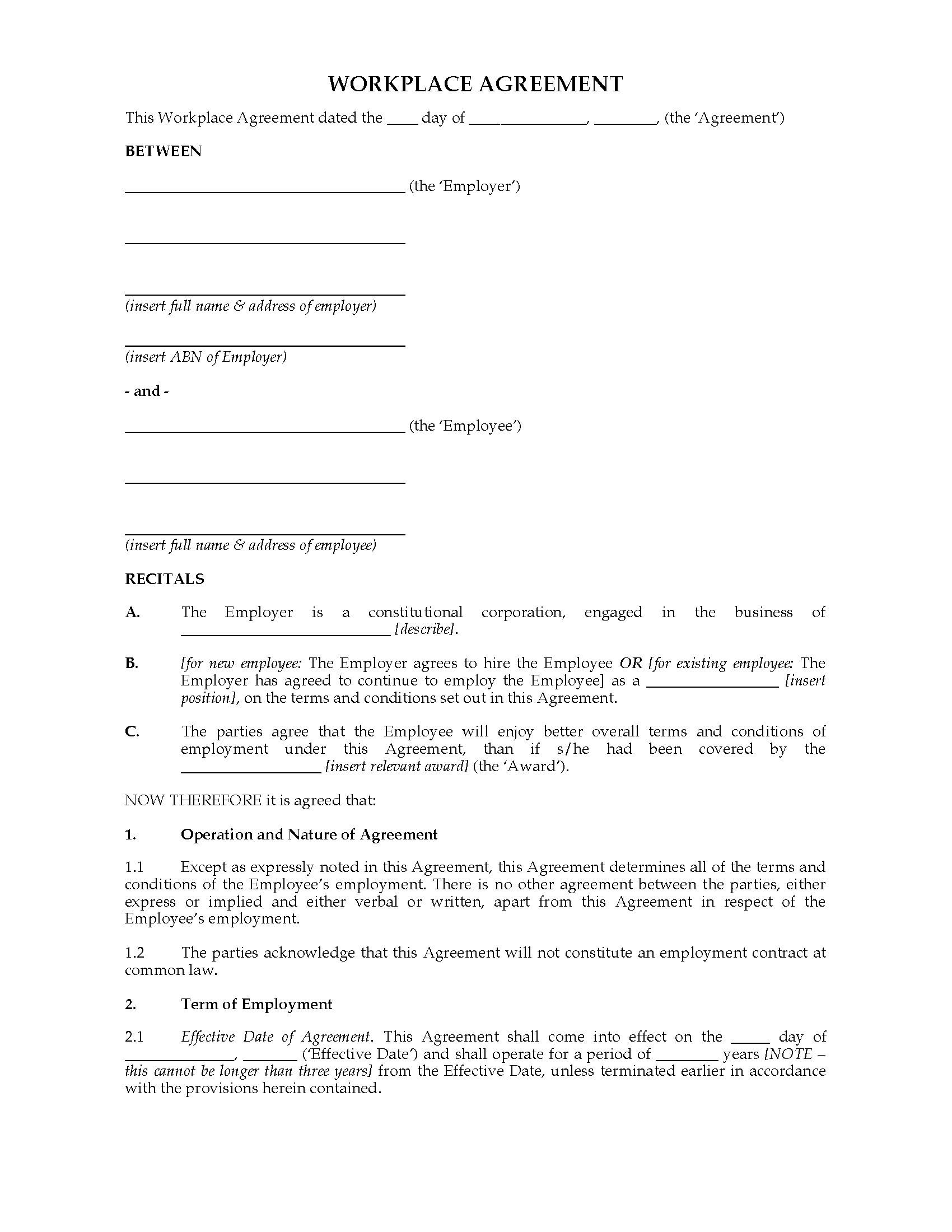 002 Beautiful Australian Employment Contract Template Free High Resolution Full