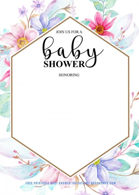 002 Beautiful Baby Shower Invitation Girl Free Printable Highest Clarity  Twin480