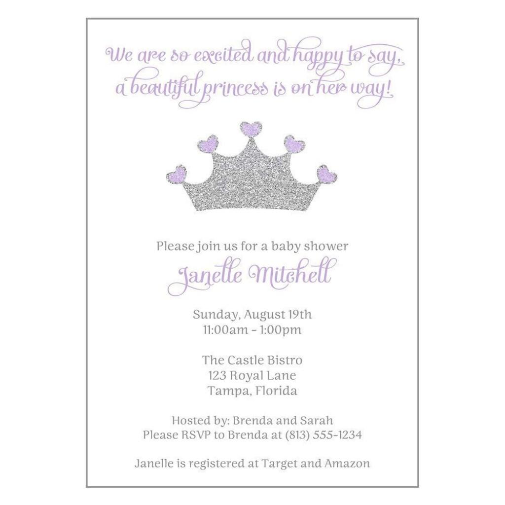 002 Beautiful Baby Shower Invitation Girl Purple Highest Quality Large