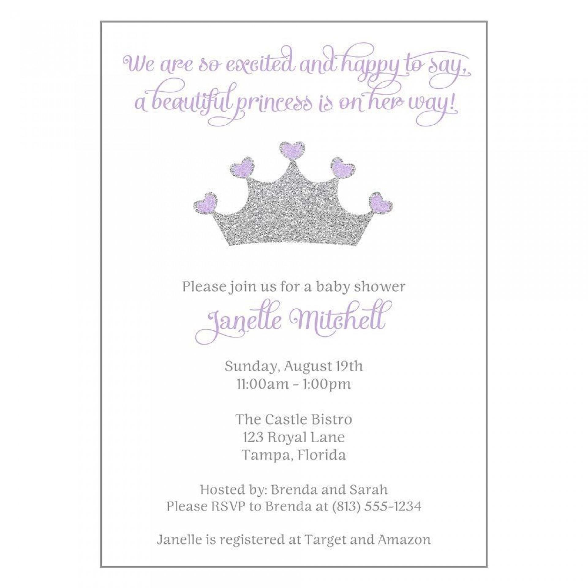 002 Beautiful Baby Shower Invitation Girl Purple Highest Quality 1920