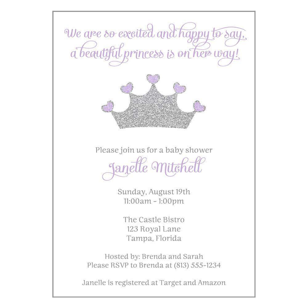 002 Beautiful Baby Shower Invitation Girl Purple Highest Quality Full