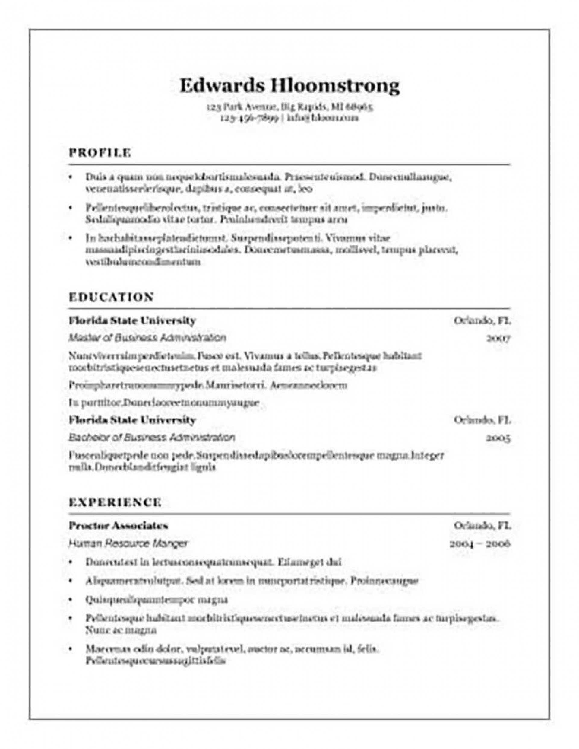 002 Beautiful Basic Resume Template Word High Definition  Free Download 20201920
