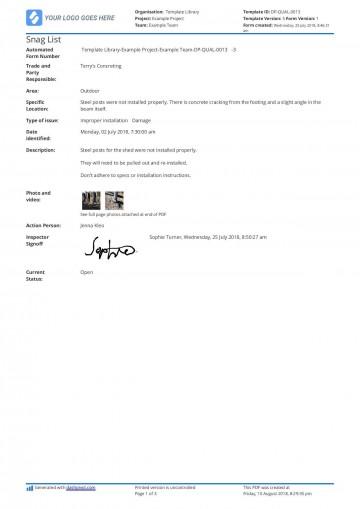 002 Beautiful Construction Punch List Template Word Design 360