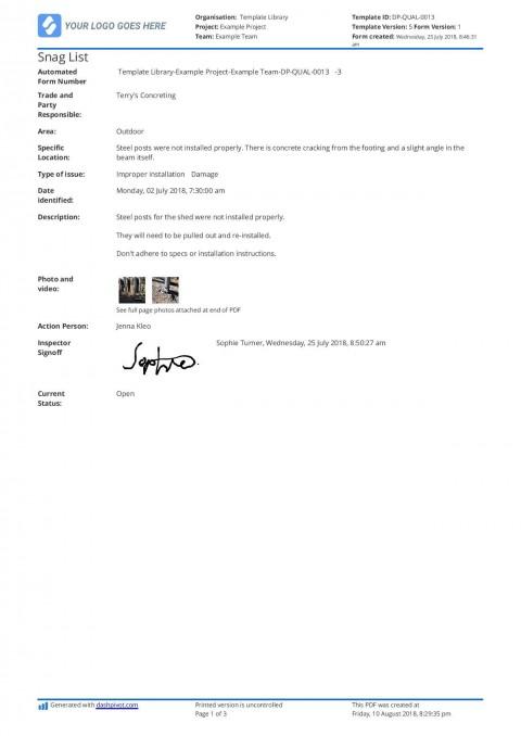 002 Beautiful Construction Punch List Template Word Design 480