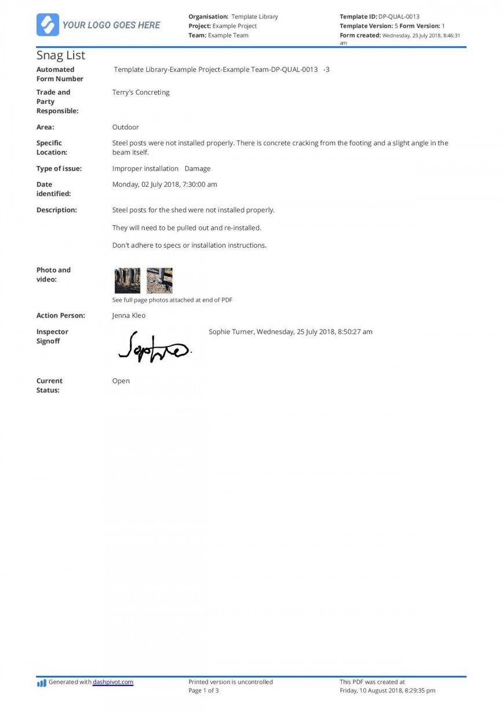 002 Beautiful Construction Punch List Template Word Design 868