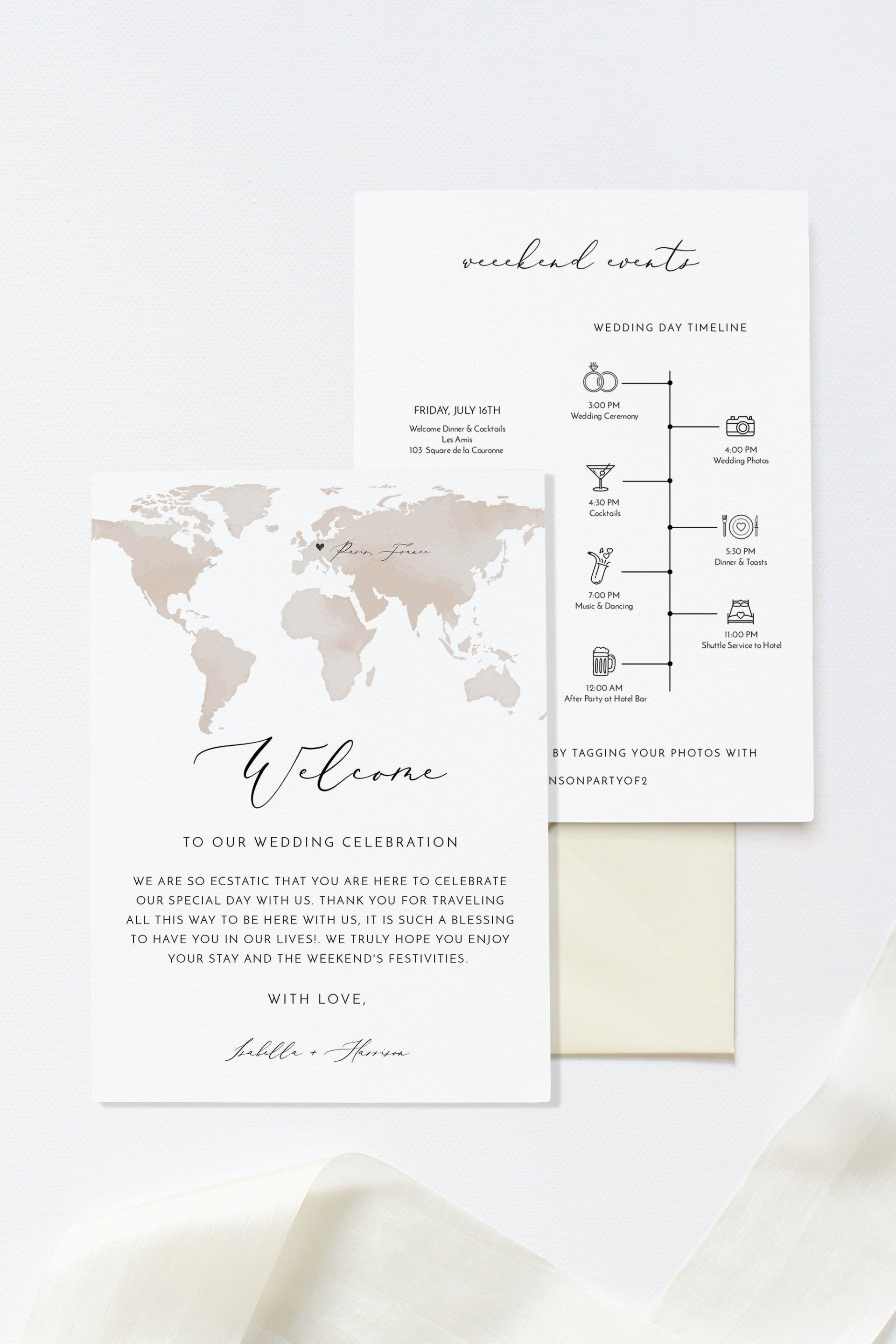 002 Beautiful Destination Wedding Welcome Letter And Itinerary Template Image 1920