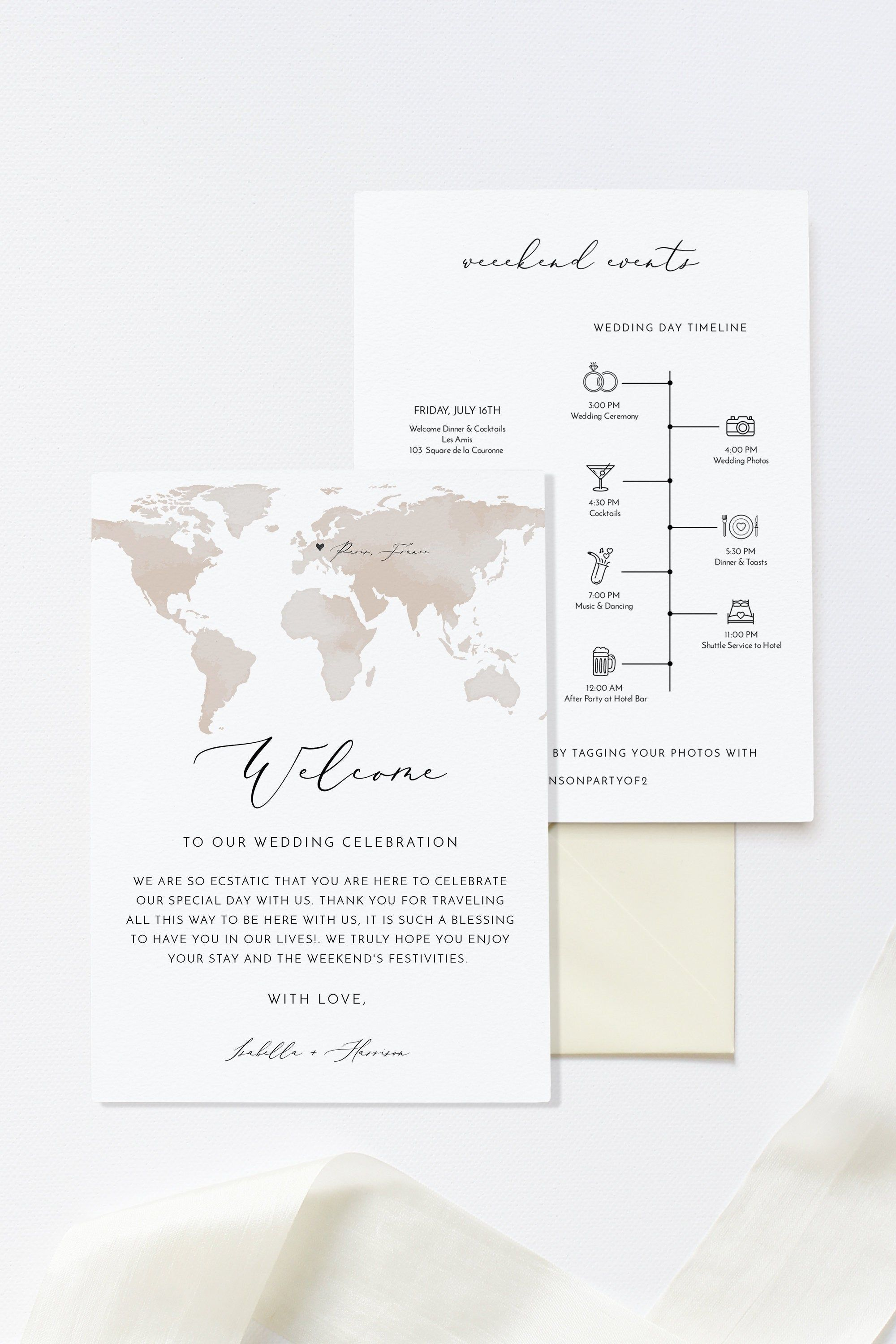 002 Beautiful Destination Wedding Welcome Letter And Itinerary Template Image Full