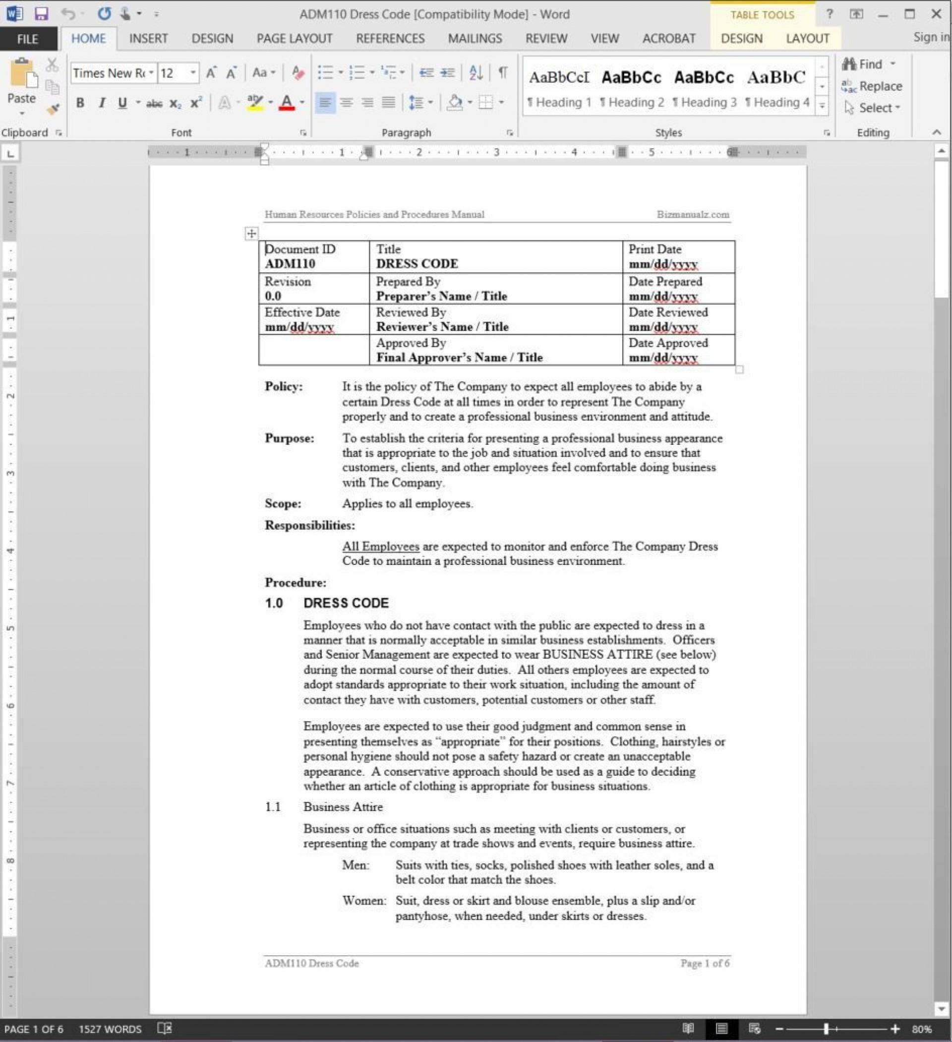 002 Beautiful Dres Code Policy Template Design  Work Uk Sample Casual Memo1920