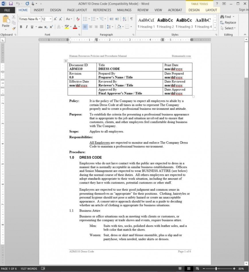 002 Beautiful Dres Code Policy Template Design  Professional Example Employee Company