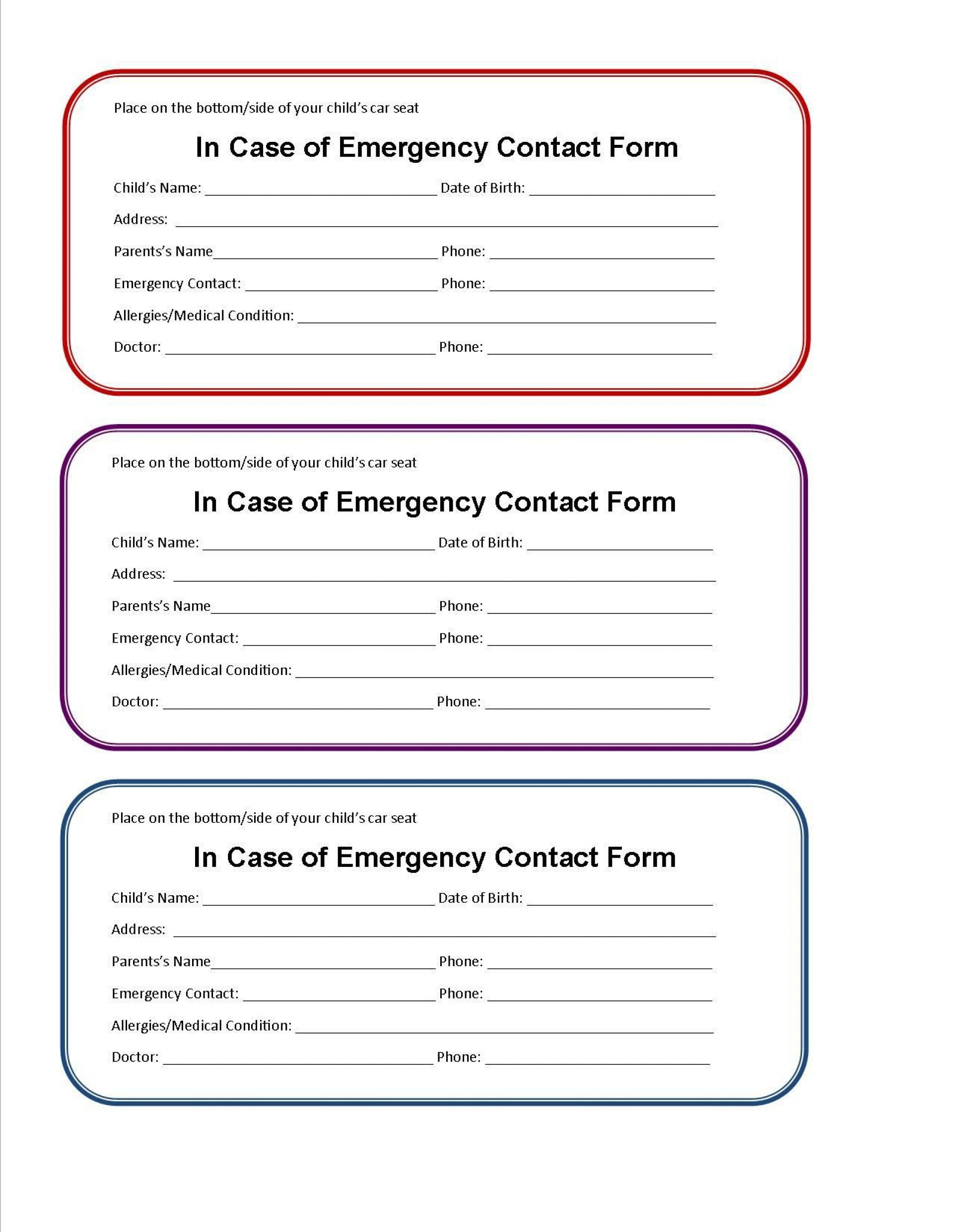 002 Beautiful Emergency Information Card Template Photo  Contact Free For Child1920