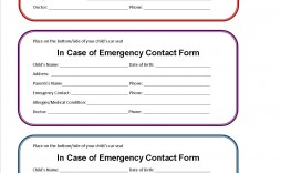 002 Beautiful Emergency Information Card Template Photo  Contact Free For Child