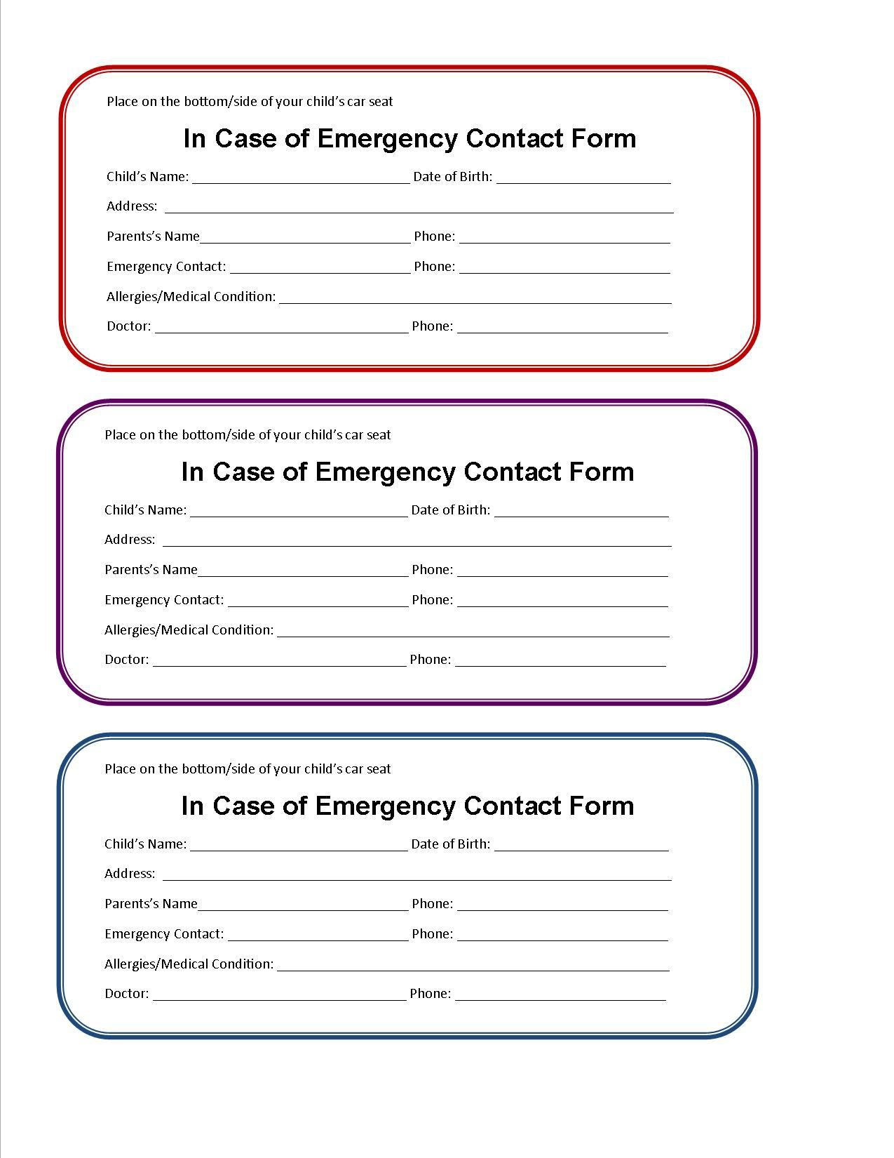 002 Beautiful Emergency Information Card Template Photo  Contact Free For ChildFull