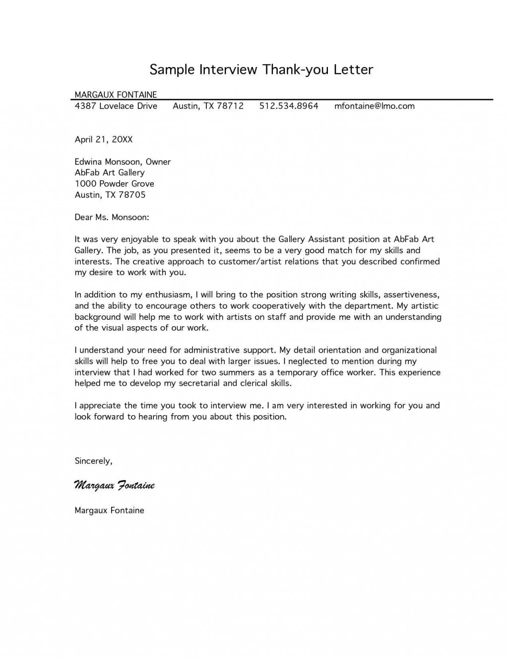 002 Beautiful Follow Up Letter After Interview Sample  Handwritten Note Email For Job TemplateLarge