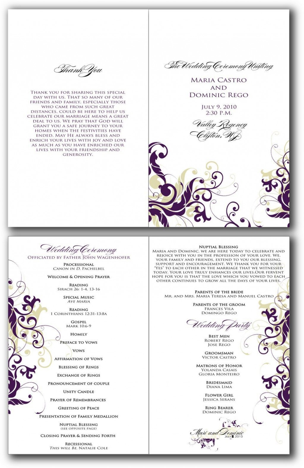 002 Beautiful Free Editable Church Program Template Design Large