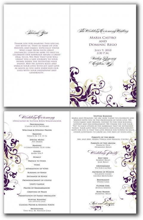 002 Beautiful Free Editable Church Program Template Design 480